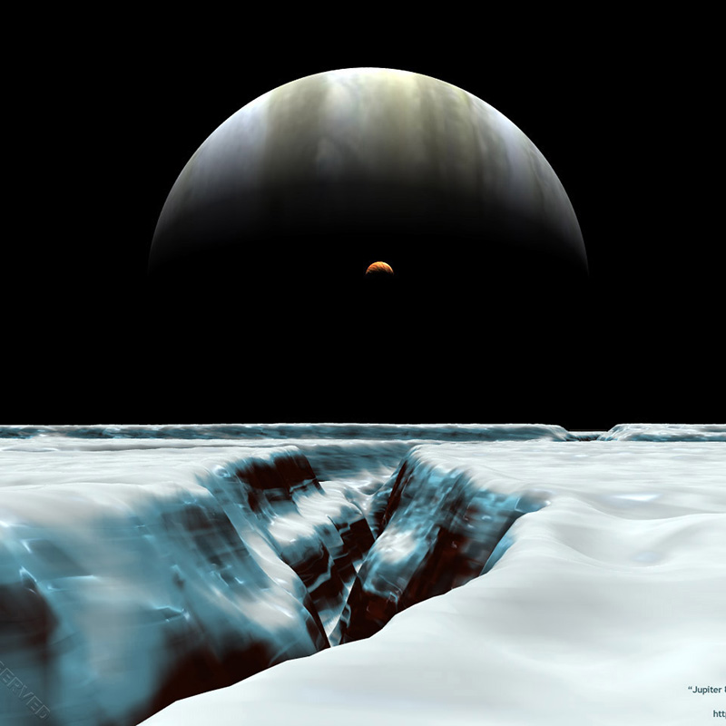 Jupiter & Io from Europa's surface (from Planets & Stars - Outer Solar System)